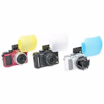 JJC White/Blue/Yellow Pop-Up Flash Diffuser for Olympus Pen E-P3, E-PL1, E-PL2