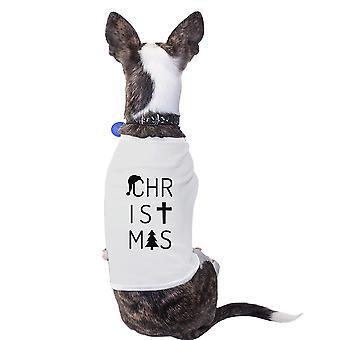 رسائل عيد الميلاد الزي للحيوانات الأليفة لطيف قميص الحيوانات الأليفة الصغيرة البيضاء القطن