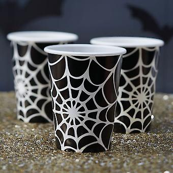 Spider Web Halloween Paper Cups - Trick Or Treat x 8 Party Drinks