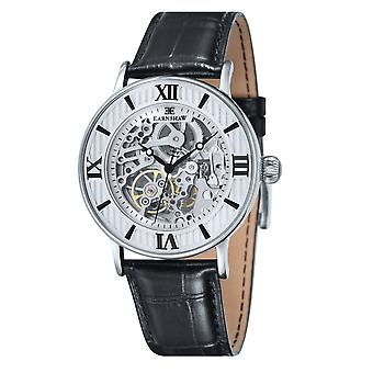 Thomas Earnshaw Es-8038-02 Darwin Silver & Black Leather Automatic Men's Watch