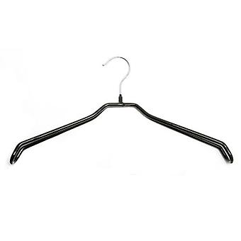 Pack of 50 Black Coated Non-Slip Hangers, Extra Wide Shoulder Support