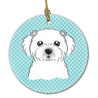 Carolines Treasures  BB1146CO1 Checkerboard Blue Maltese Ceramic Ornament