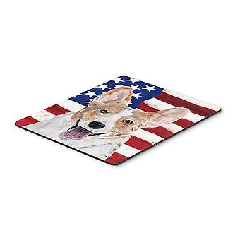 Corgi Cardigan met Amerikaanse vlag USA muismat, hete Pad of onderzetters