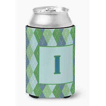 Letter I Initial Monogram - Blue Argoyle Can or Bottle Beverage Insulator Hugger