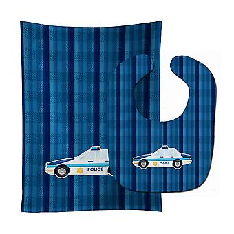Carolines Treasures  BB7009STBU Police Car Baby Bib & Burp Cloth