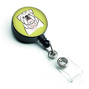 Checkerboard Lime Green White English Bulldog  Retractable Badge Reel
