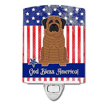 Carolines Treasures  BB3010CNL Patriotic USA Mastiff Brindle Ceramic Night Light
