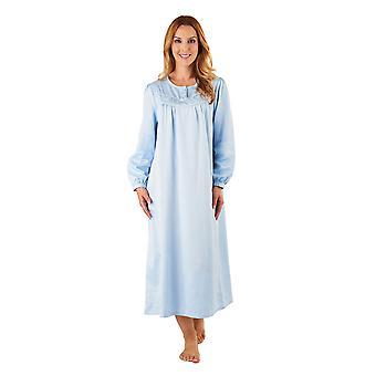 Slenderella ND8236 Frauen Blau Satin Abend Kleid Langarm Nachthemd