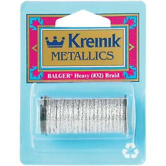 Kreinik Heavy Metallic Braid #32 5 Meters 5 1 2 Yards Silver H 001