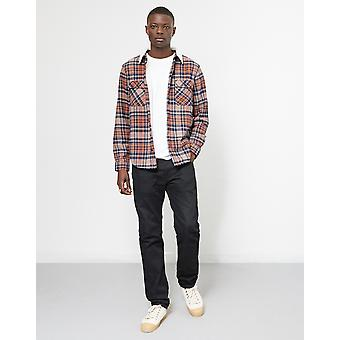 The Idle Man Brushed Check Shirt with Borg Collar Rust
