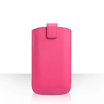 Caseflex Medium Textured Leather-Effect Return Phone Pouch - Pink