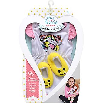 My Sistie Doll Emoji Pajamas W/Slippers-White & Pink W/Yellow Slippers 6244S