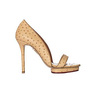 Charlotte Olympia S1612361003 ladies beige leather sandals