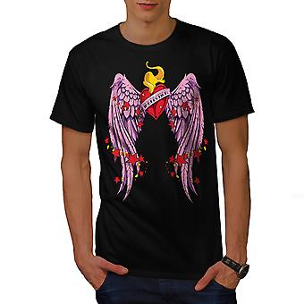 Hart van Wing liefde Valentijn mannen gekleedinzwartet-shirt | Wellcoda