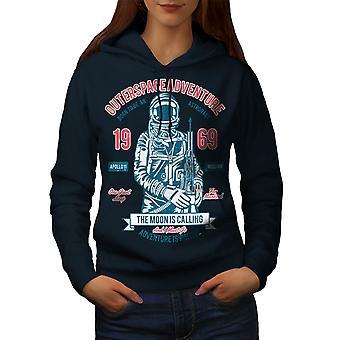 Moon Apollo Mission Space Women NavyHoodie | Wellcoda