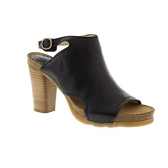 Fly London Bach - Black Mousse (Leather) Womens Heels