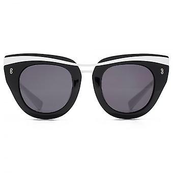 Hook LDN Clique Metal Brow Cateye Premium Acetate Sunglasses In Black