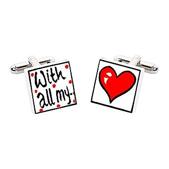 With All My love Cufflinks by Sonia Spencer, in Presentation Gift Box. Hand painted