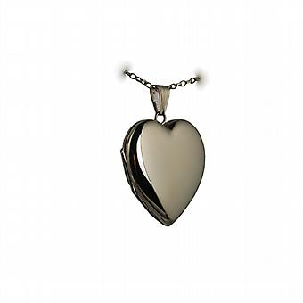 9ct Gold 30x28mm plain heart shaped Locket with belcher Chain 24 inches