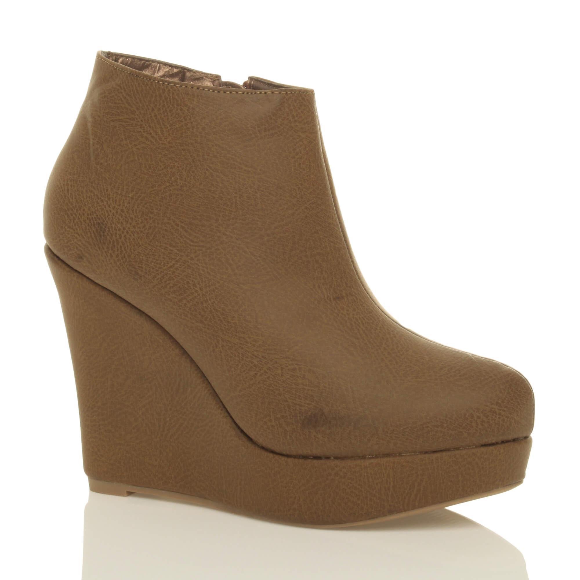 Ajvani womens platform high heel boots wedge zip ankle shoes boots heel booties 6c84a4