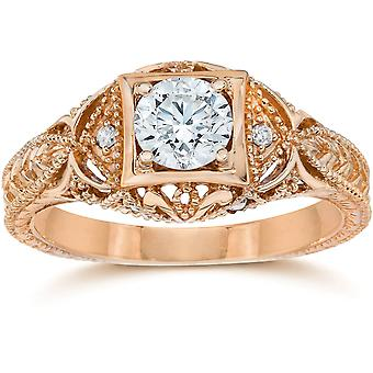 Emery 5/8 Ct Vintage Diamond antiken Engagement 14K Rose Gold