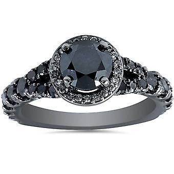 1 3 / 8ct trattati diamante nero Split tibia Halo anello di fidanzamento 14k White Gold