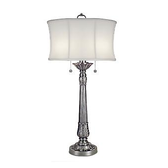Pewter Table Lamp - 2 x 60W E27