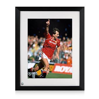Framed Bryan Robson Signed Manchester United Photo: Goal Celebration