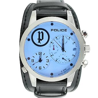 Police mens watch wristwatch leather analog PL. 14188JS/04