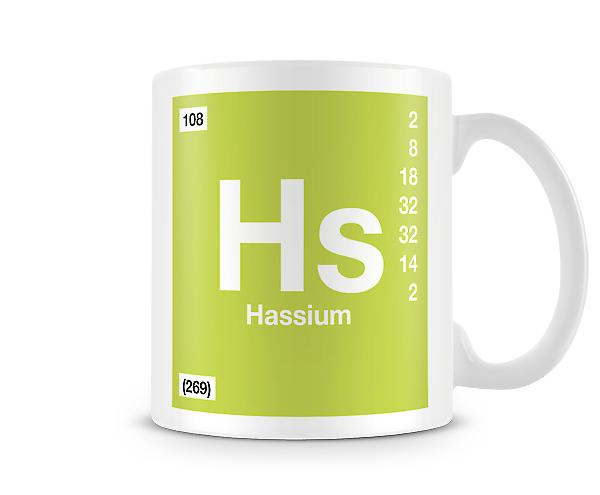 Element Symbol 108 Hs - Hassium Printed Mug