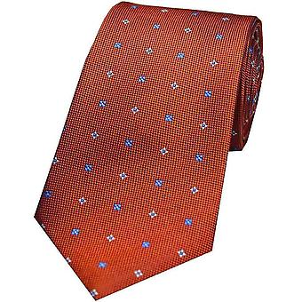 David Van Hagen Small Flowers Silk Tie - Orange