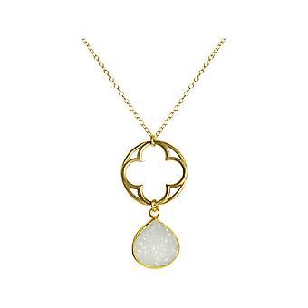 Gemshine - damer - örhängen - KLÖVER - 925 Silver - guld pläterad - DRUZY - vit - kvarts - 5 cm