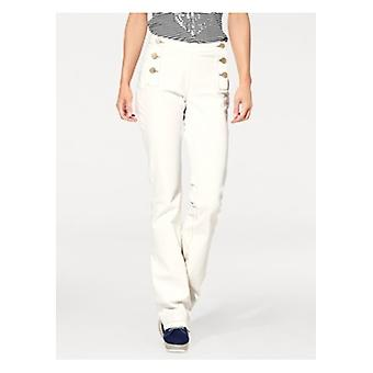 B.C.. best connections trendy Casual flared Jeans plus size cream