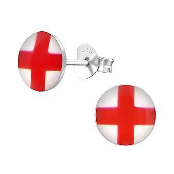 England Flag - 925 Sterling Silver Colourful Ear Studs - W24462x
