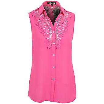 New Ladies Sleeveless Chiffon Lace Pattern Smart Evening Women's Blouse