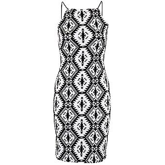 Ladies Embossed Monochrome Aztec Women's Black Velvet Short Bodycon Dress