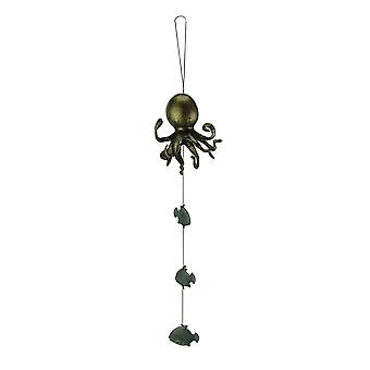 Bronze Octopus and Green Fish Aluminum Wind Bell