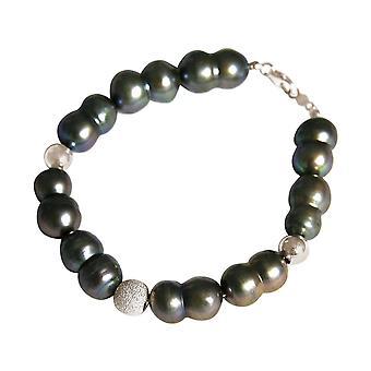 GEMSHINE armbånd barokk kultivert perler 925 sølv eller forgylt-Tahiti Grey