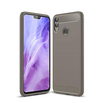 Huawei honor 8 X TPU case carbon fiber optics brushed protection cover grey