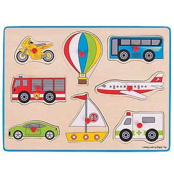 Bigjigs Toys Chunky Wooden Lift Out Jigsaw Puzzle (Transport)