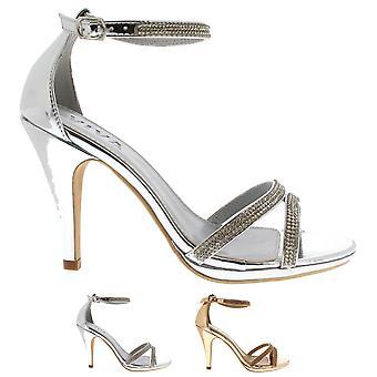 Womens Diamante Mid Heel Ankle Strap Wedding Party Metallic Sandals Shoes UK 3-8
