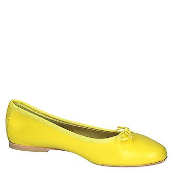 Leonardo Shoes Women's handmade ballet flats shoes in yellow napa leather