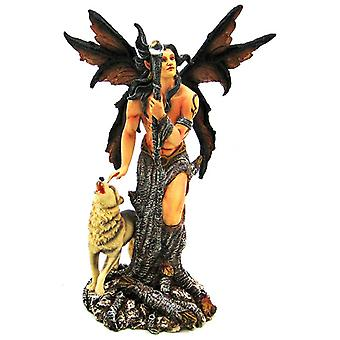 Native Wolf Male Forest Fairy Statue Winter Tree