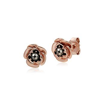 Gemondo Rose Gold Plated Sterling Silver Floral Marcasite Stud Earrings