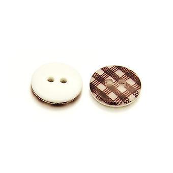10 x biało brązowy żywicy 13mm rundy 2 otworami wzorzyste przyszyć guziki HA14655