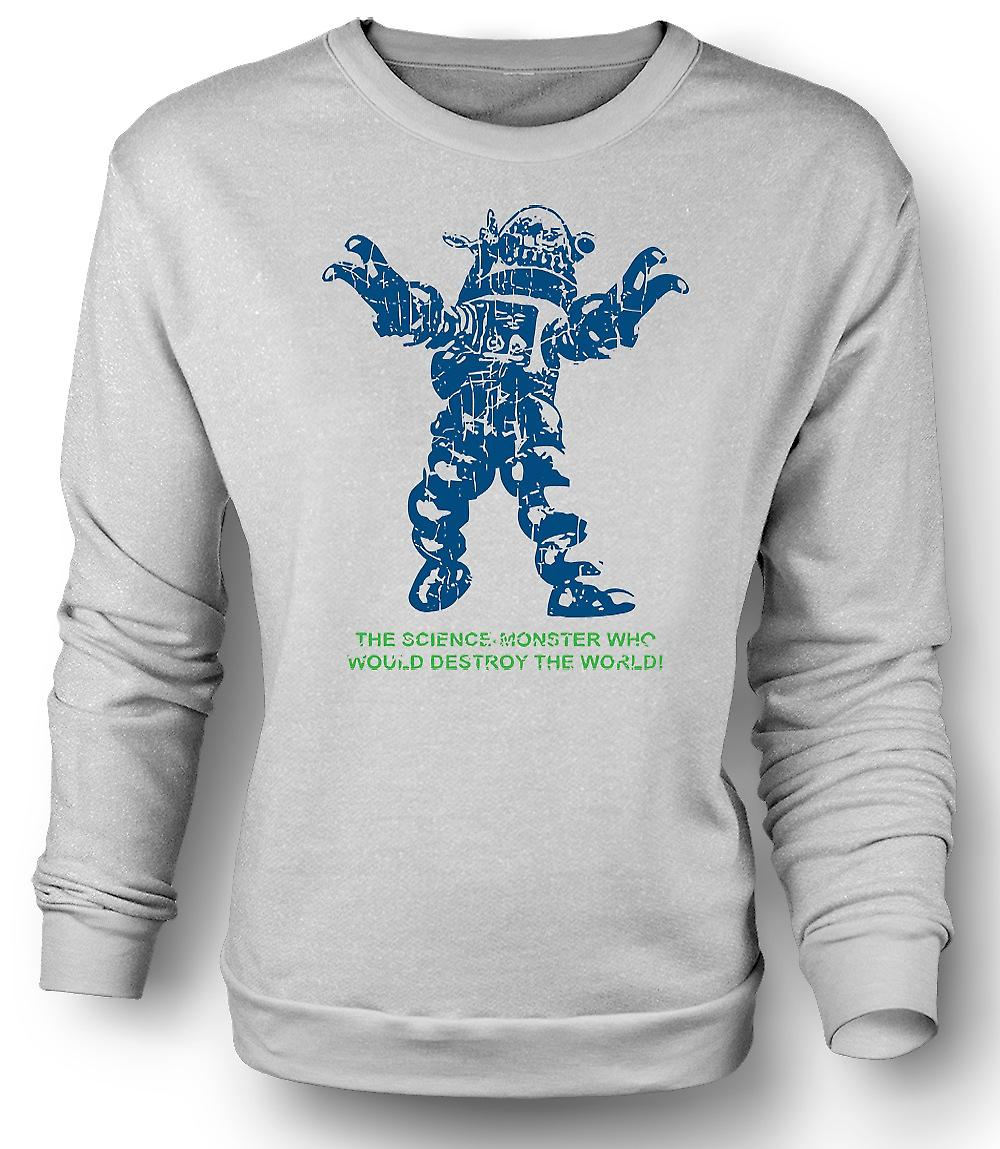 Mens Sweatshirt Science Monster Destroy World - Sci Fi