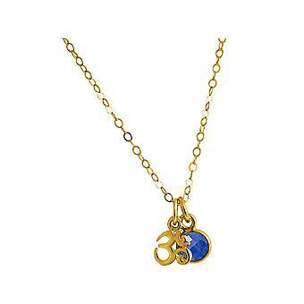 Gemshine YOGA Meditation Ohm Halskette aus 925 Silber, vergoldet oder rose. 1,3 cm Anhänger mit blauem Saphir. Nachhaltiger, qualitätsvoller Schmuck Made in Spain
