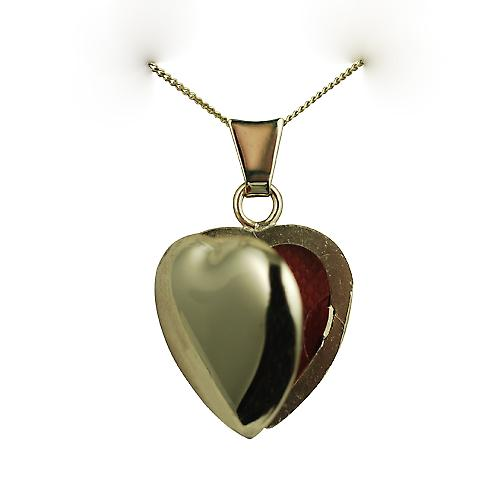 9ct Gold 17x16mm plain heart shaped Locket with a curb Chain 16 inches Only Suitable for Children