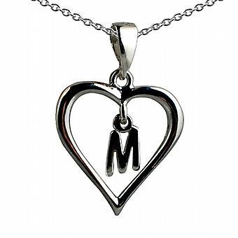 18x18mm inicial M en un corazón colgante con un rolo cadena 20 pulgadas de plata