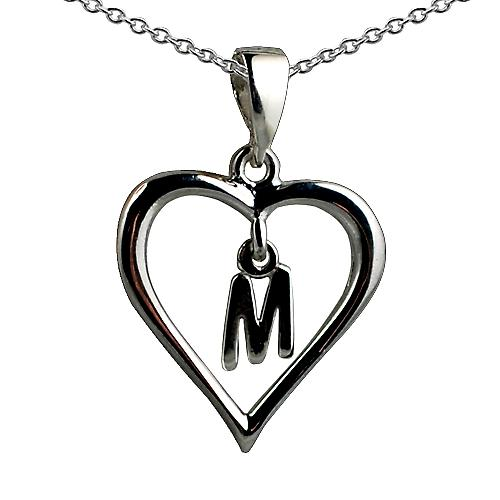 Silver 18x18mm initial M in a heart with rolo chain